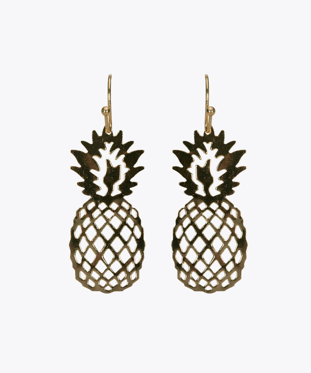 Pineapple Cutout Drop Earring, Gold, hi-res