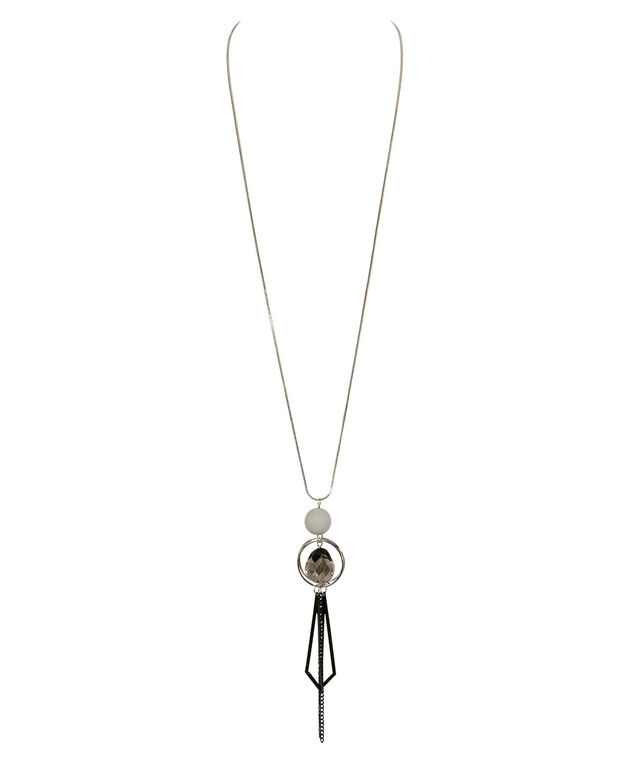 Matte Bead & Tassel Pendant Necklace, Grey/Black/Rhodium, hi-res