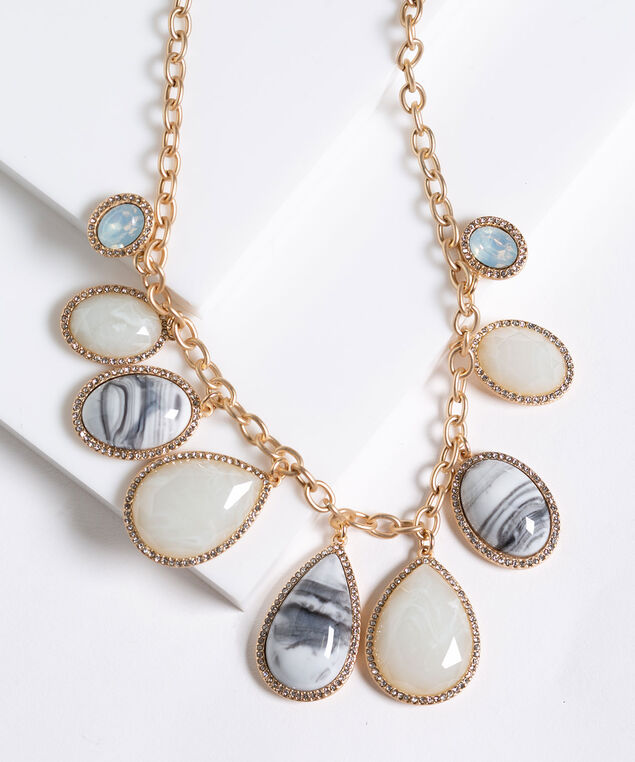 Mixed Stone Statement Necklace, Ivory/Black/Gold, hi-res