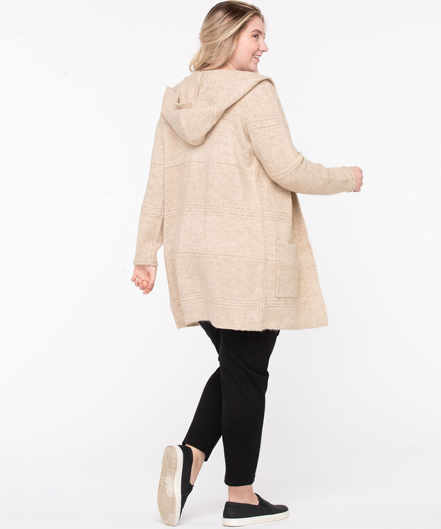Pointelle Hooded Tunic Cardigan, Heathered Camel, hi-res