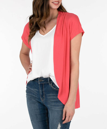 Short Sleeve Rounded Open Cardigan, Watermelon, hi-res