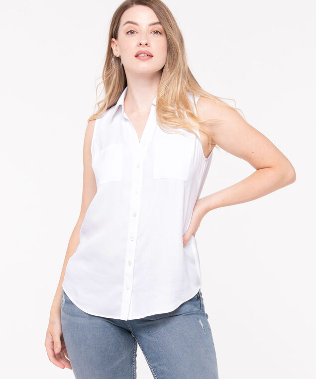 Sleeveless Button-Front Collared Shirt, Pearl, hi-res