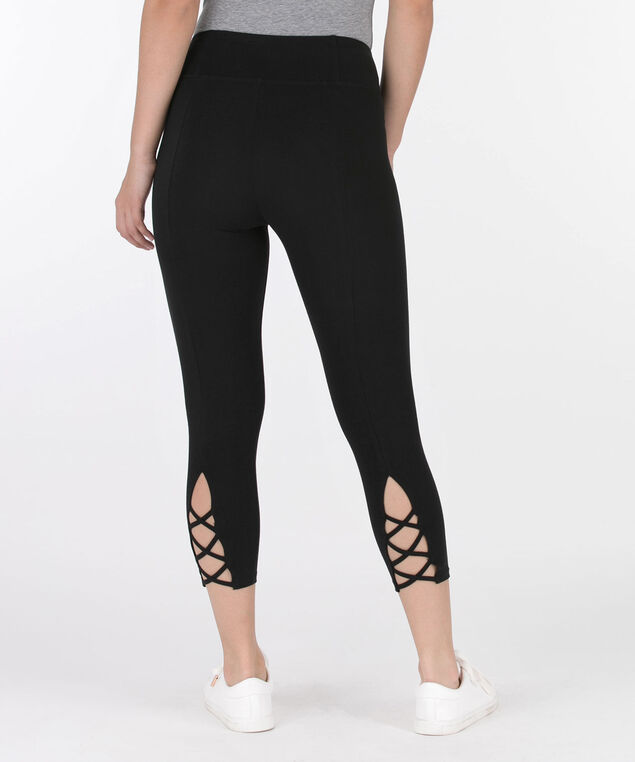 Criss-Cross Trim Capri Legging, Black, hi-res