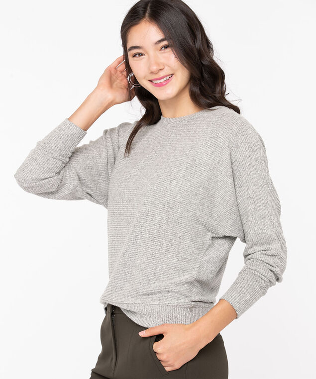 Dolman Sleeve Lightweight Knit Top, Light Heather Grey, hi-res