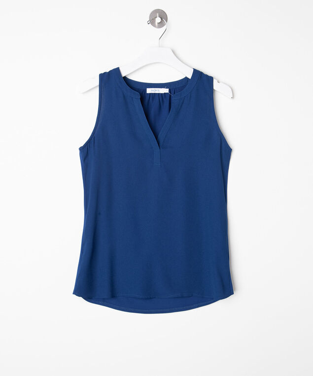 Sleeveless Mixed Media Henley Top, Deep Sea Blue, hi-res