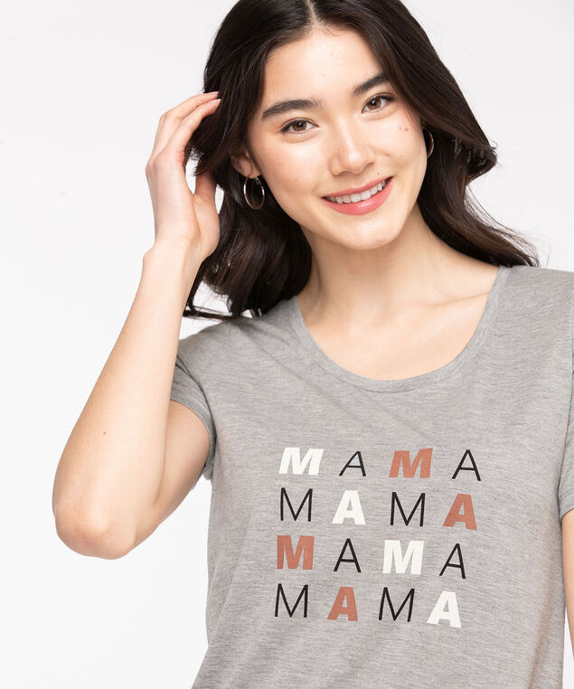 Scoop Neck Graphic Tee, Frost Gray/Mama