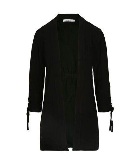 Tie-Sleeve Open Cardigan, Black, hi-res