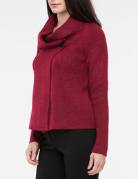 One Button Cropped Sweater Jacket
