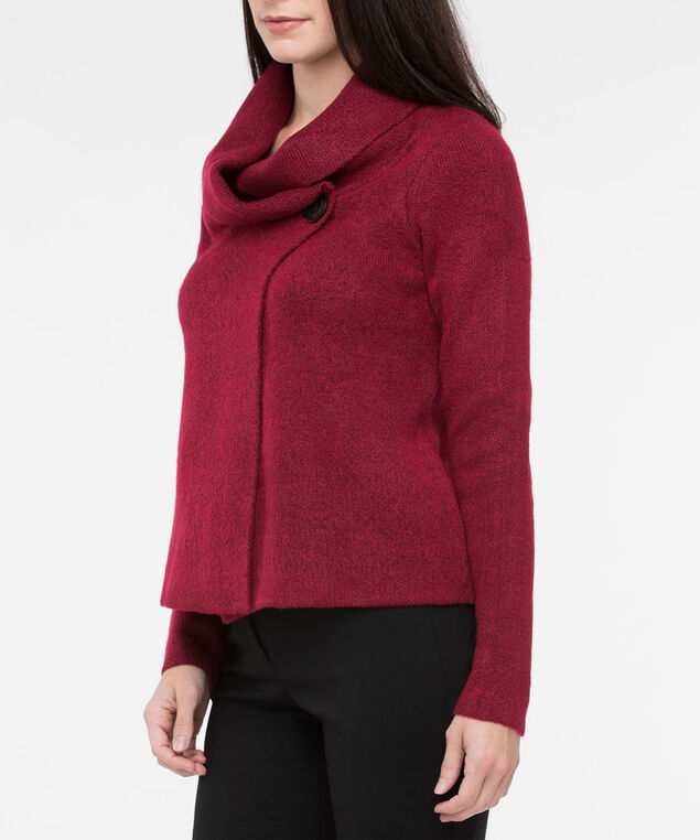 One Button Cropped Sweater Jacket, Crimson, hi-res