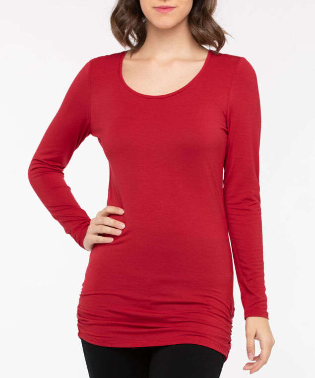 Ruched Tunic Length Layering Essential Top, Crimson, hi-res