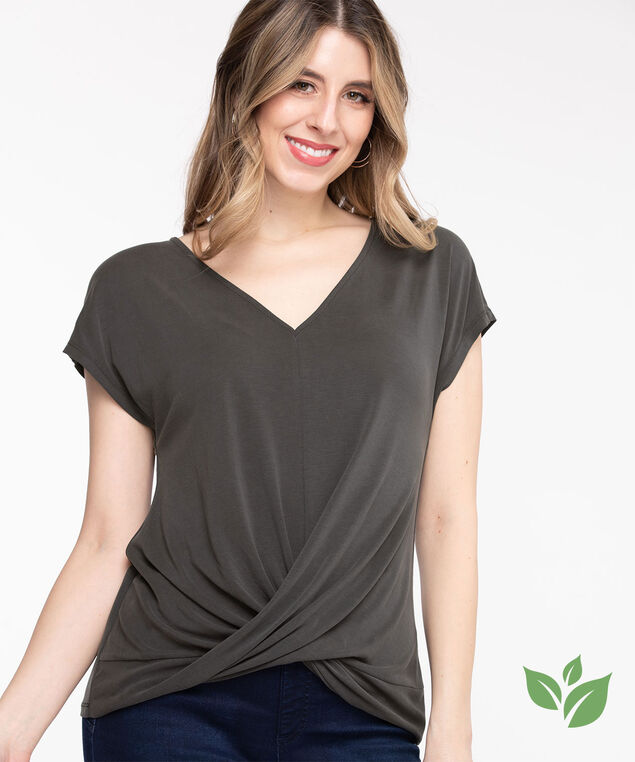 Eco-Friendly V-Neck Twist Hem Top, Black