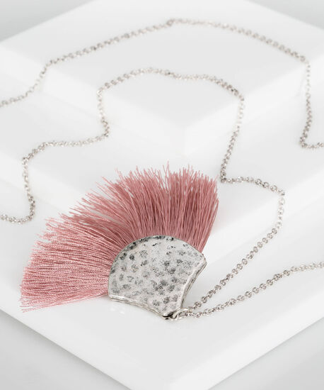 Hammered Metal & Fringe Necklace, Cameo Pink/Rhodium, hi-res