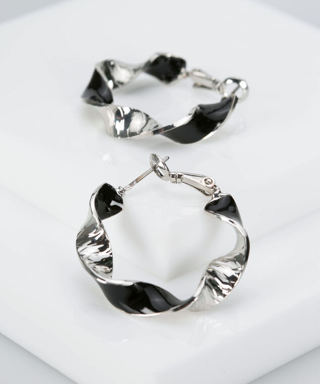 Twisted Epoxy Hoop Earring, Black/Rhodium, hi-res