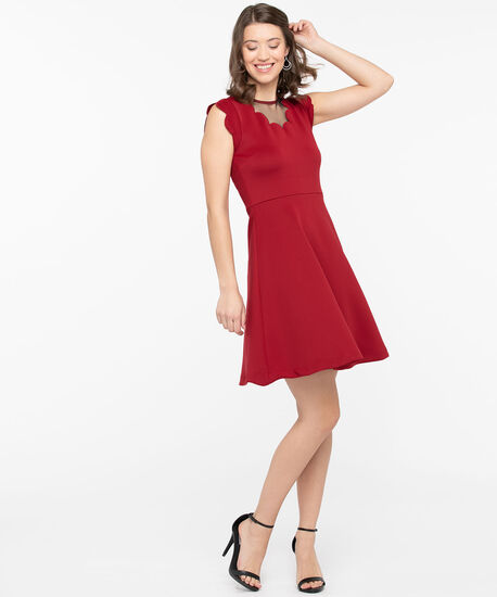 Scalloped Fit & Flare Dress, Hibiscus, hi-res