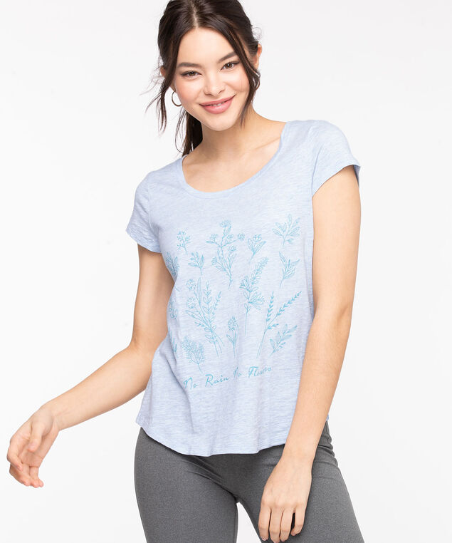 Scoop Neck Shirttail Graphic Tee, Heather/Floral