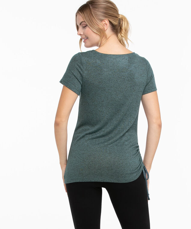 Side Ruched Hacci Tee, Tapestry/Black Mix