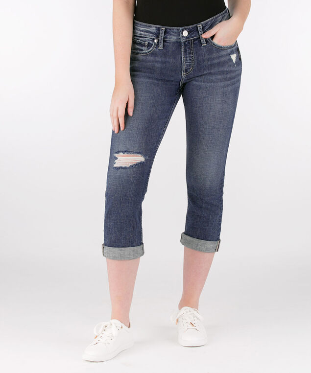 Silver Jeans Co. Elyse Distressed Capri Jean, Mid Wash, hi-res