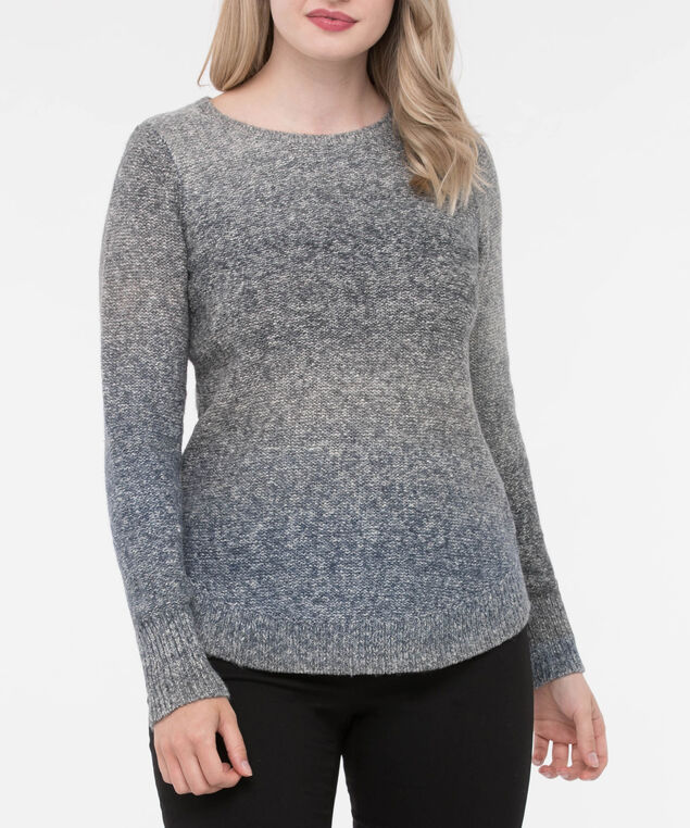 Curved Hem Ombre Sweater, Heather Grey/Steel Blue/Deep Sapphire, hi-res