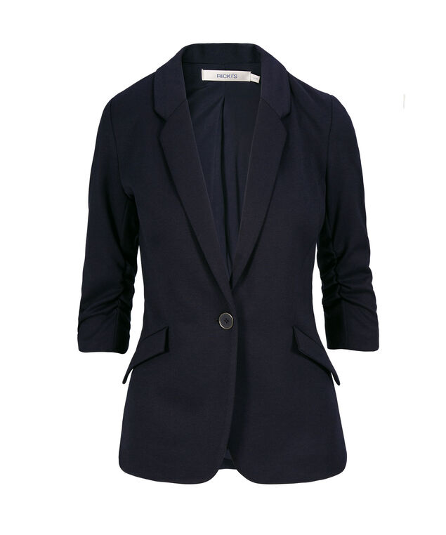 Knit Ruched Sleeve Blazer, Navy, hi-res