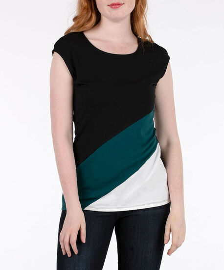 Colour Block Extended Sleeve Top, Black/Ivy/Ivory, hi-res