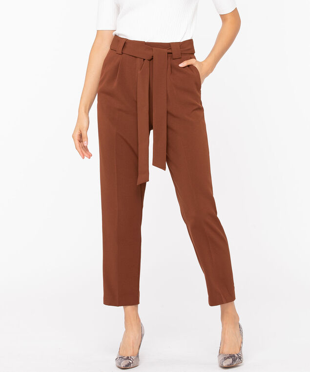 Rust Tapered Crepe Pant, Rust, hi-res