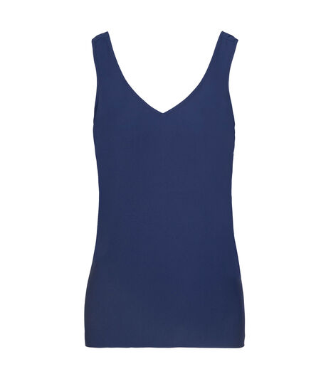 Double-V Woven Layering Cami, Ink Blue, hi-res