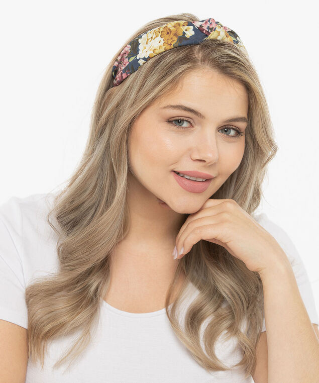 Floral Print Knotted Headband, Summer Navy/Rose Petal/Gold, hi-res