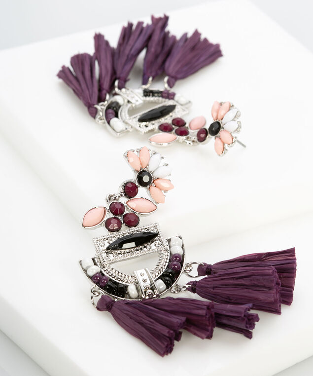 Coloured Stone & Tassel Chandelier Earring, Fig/Rose Petal/Rhodium, hi-res