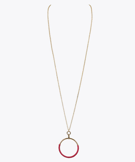 Thread Wrapped Hoop Pendant Necklace, Pink/Gold, hi-res