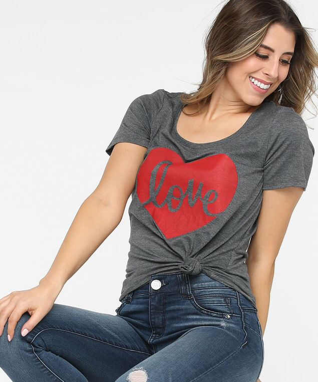 Love Graphic Scoop Neck Tee, Heather Grey/Crimson, hi-res