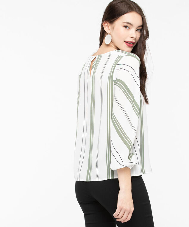 Long Sleeve Striped Blouse, Pearl/Thyme/Black, hi-res