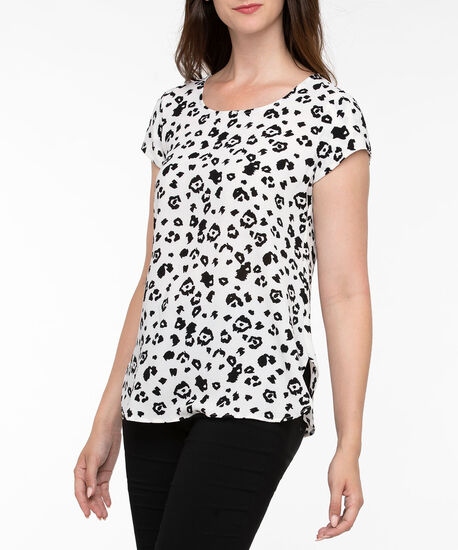 Short Sleeve Scoop Neck Blouse, Black/Pearl, hi-res