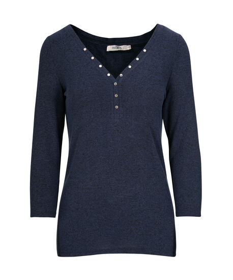 Studded Henley Knit Top, Ink Blue, hi-res