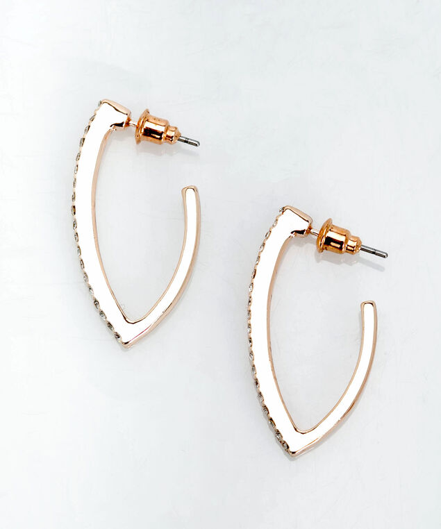 Crystal Leaf Earring, Rose Gold, hi-res