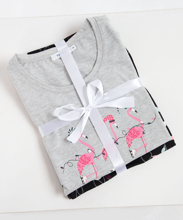 Flamingo Screen Tee Pajamas, Black/Grey/Dusty Pink, hi-res