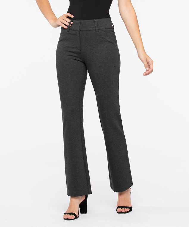 Luxe Ponte Fly Front Bootcut Leg, Charcoal, hi-res