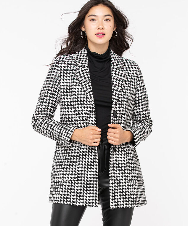 Herringbone Button Front Car Coat, Black/Pearl, hi-res