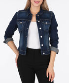 Dark Wash Jean Jacket, Dark Blue, hi-res