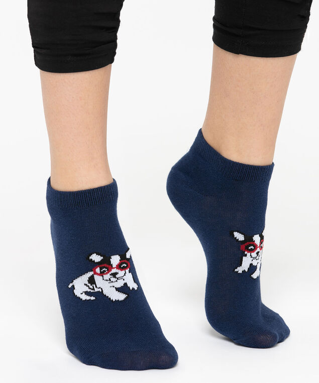 Dog In Glasses Ankle Socks, Navy/Pearl/Red, hi-res