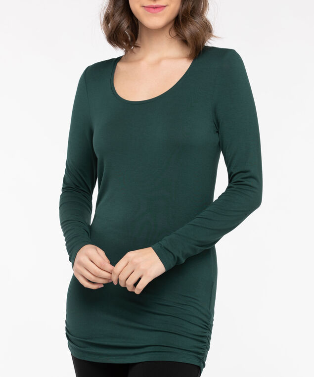 Ruched Tunic Length Layering Essential Top, Ivy, hi-res