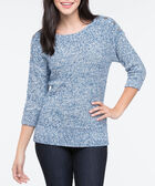 Silver Button Trim Pullover Sweater, Steel Blue Mix, hi-res