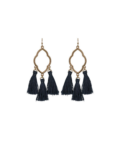 Open Medallion Tassel Earring, Indigo/Gold, hi-res
