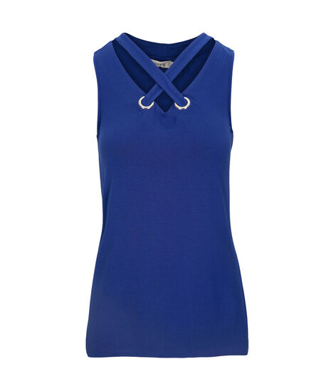 Cross Neck Sleeveless Top, Mid Blue, hi-res