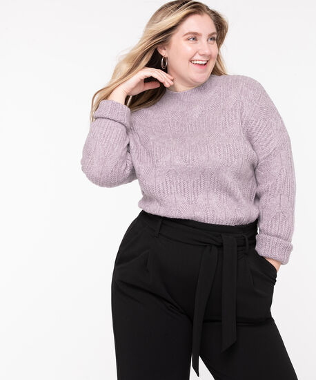 Cable Knit Mock Neck Sweater, Lilac, hi-res