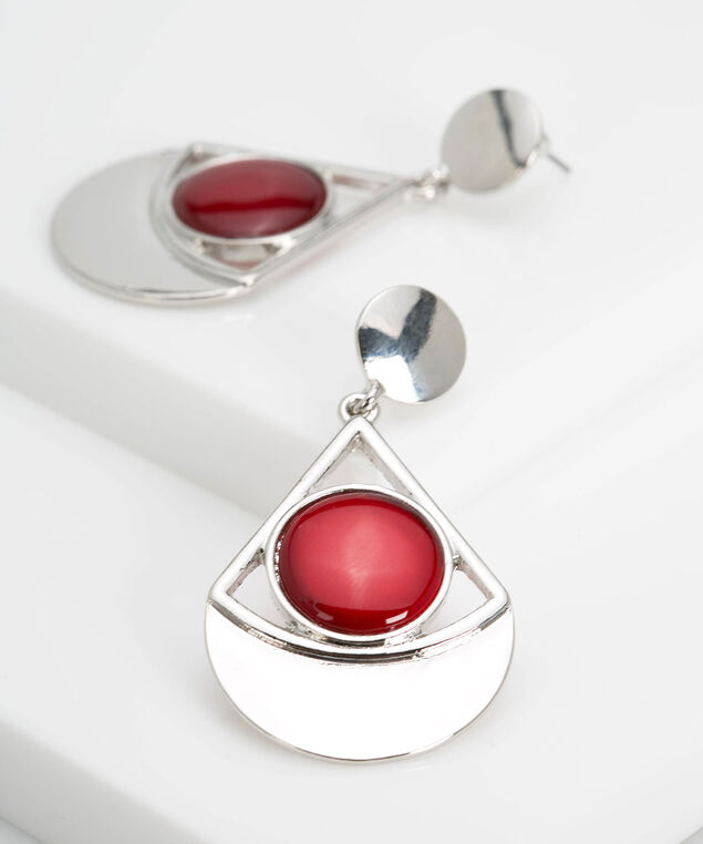 Geometric Cateye Stone Earring, Rhodium/Burgundy, hi-res
