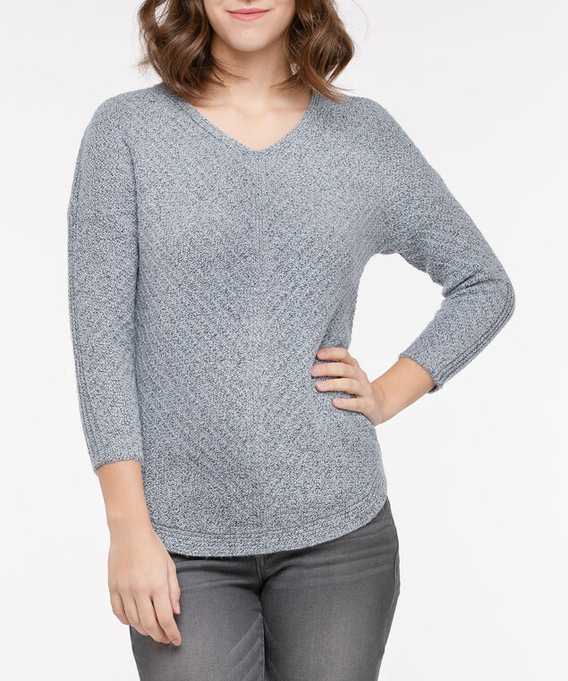 V-Neck Rounded Hem Sweater, Light Blue, hi-res