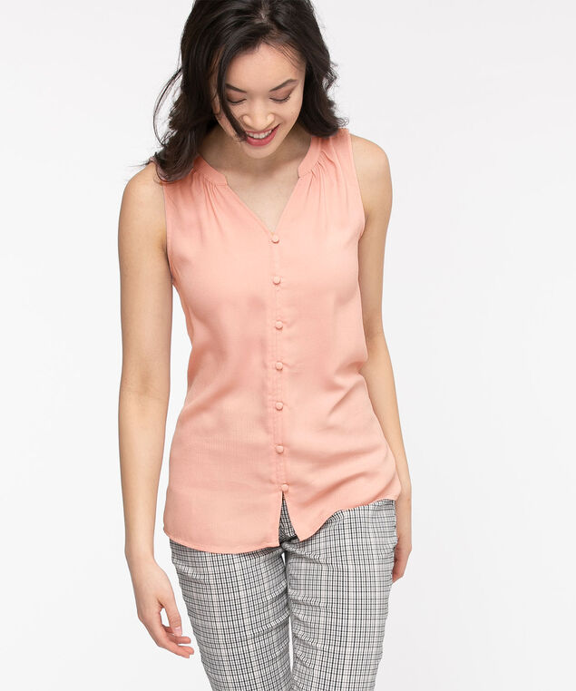 Sleeveless Ruched Button Front Top, Pale Mauve