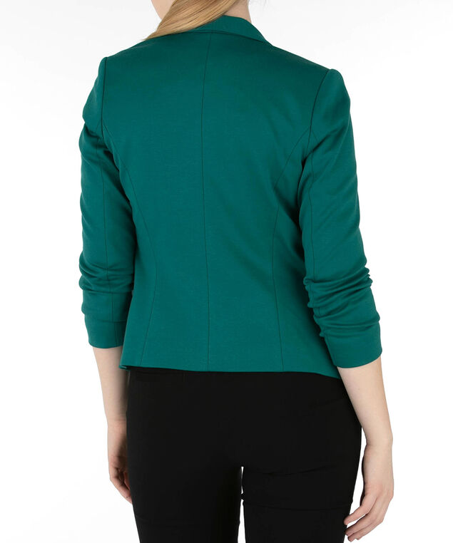 Knit Notch Collar Open Blazer, Emerald, hi-res