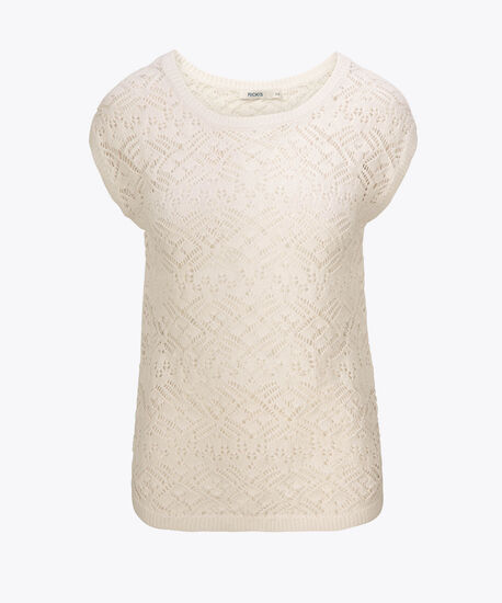 Pointelle Extended Sleeve Pullover Sweater, True White, hi-res