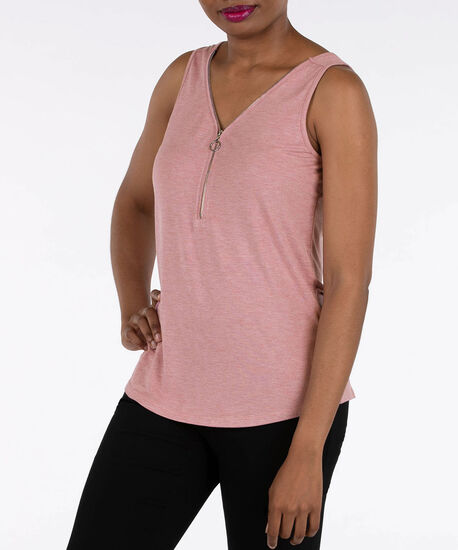Sleeveless Zipper Front Tank, Dusty Pink, hi-res
